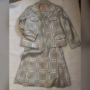 Vintage 60s metallic plaid shift dress jacket set